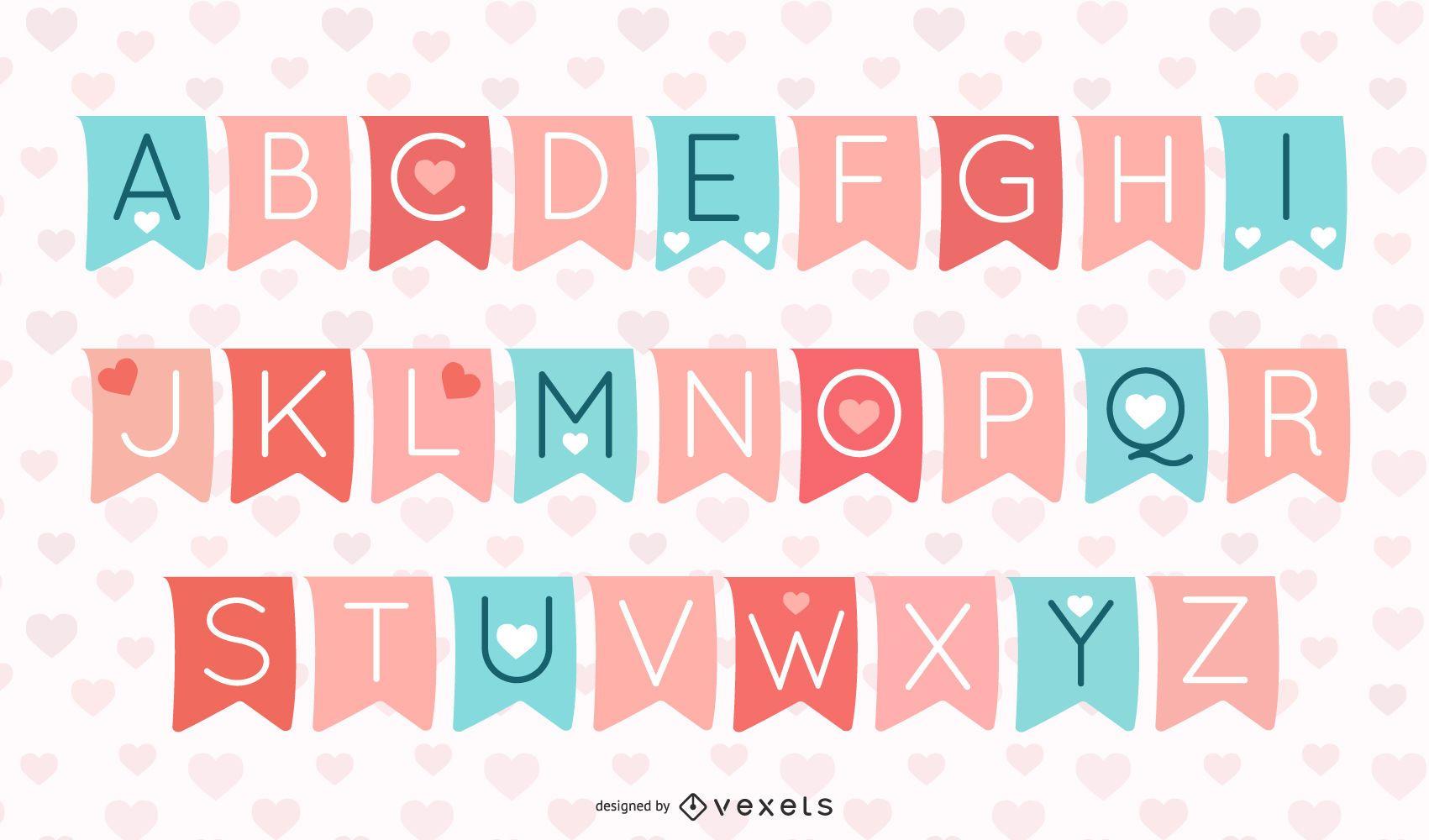 Tipografía de San Valentín en pancartas de cinta separadas
