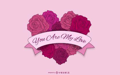 Ramo de rosas en forma de corazón con cinta de San Valentín