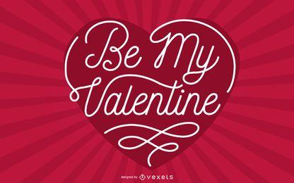 San Valentín saludo tipografía corazón con rayo de sol