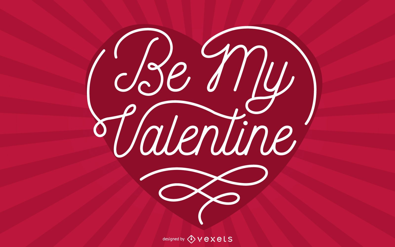 Valentine Greeting Typography Heart with Sunbeam