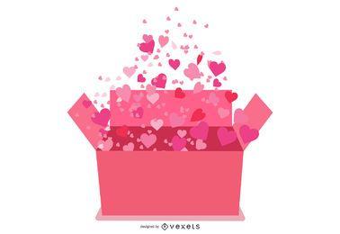 Caixa de presente dos namorados com corações saindo do armário