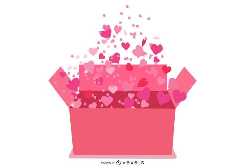 Corazones saliendo de caja de regalo de San Valentín