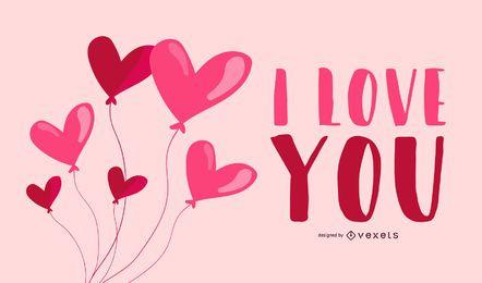 Tarjeta de San Valentín con globos de corazón simplista
