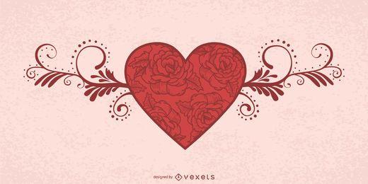 Cartão de dia dos namorados com coração floral decorativo