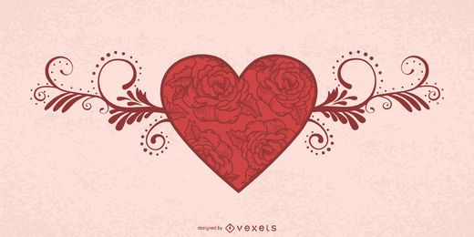 Tarjeta floral decorativa de la tarjeta del día de San Valentín del corazón