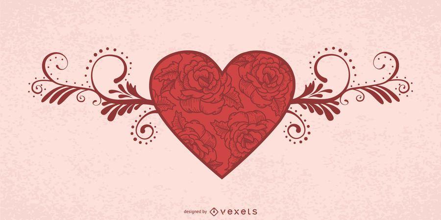 Cartão floral decorativo do Valentim do coração
