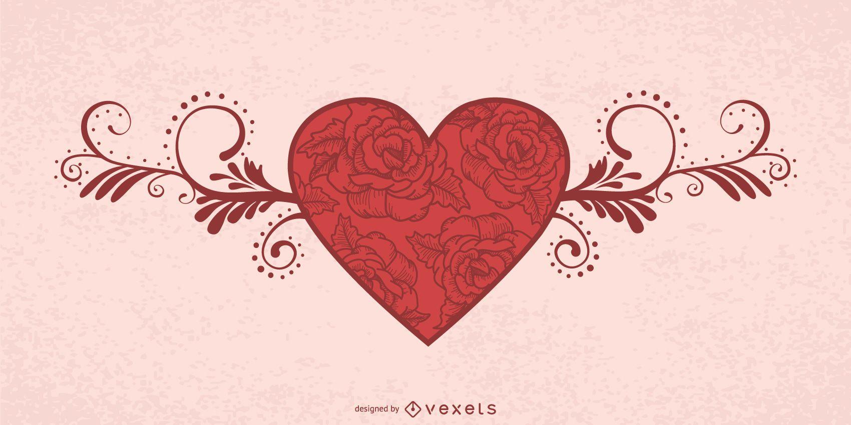 Tarjeta San Valentín Corazón Floral Decorativo