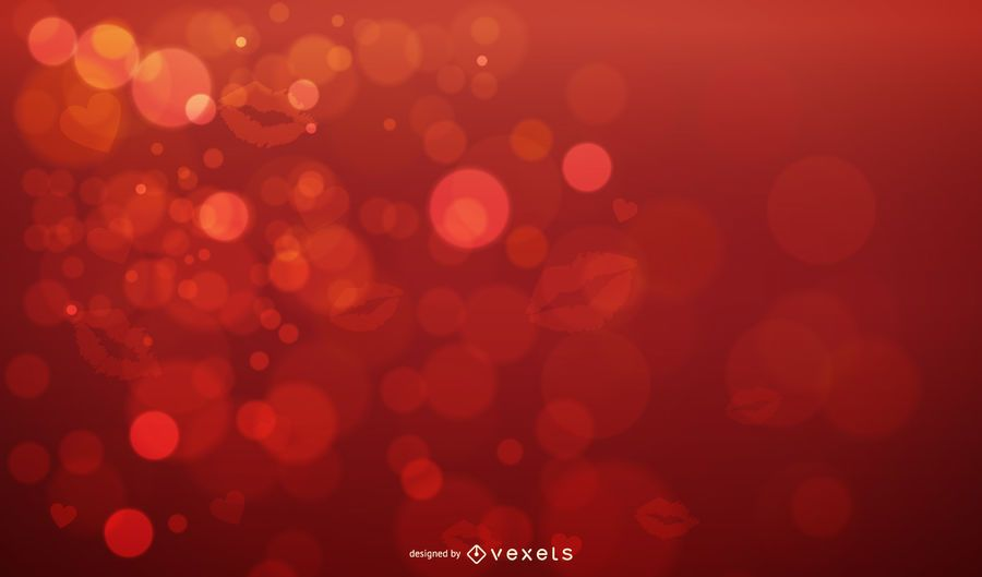 Lips Print with Sparkling Bubbles Valentine Background