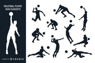 Volleyballspieler-Satz-Schattenbild des männlichen weiblichen Mannes