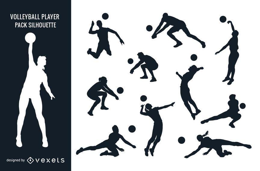 Silhueta de Pack de jogador de voleibol feminino masculino