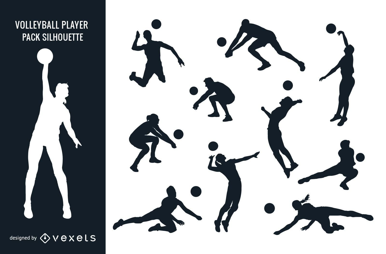 Silueta de paquete de jugador de voleibol femenino masculino