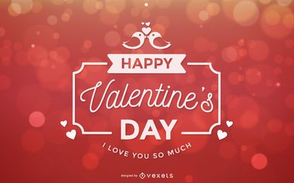 Bokeh luz tipografía decorativa tarjeta de San Valentín