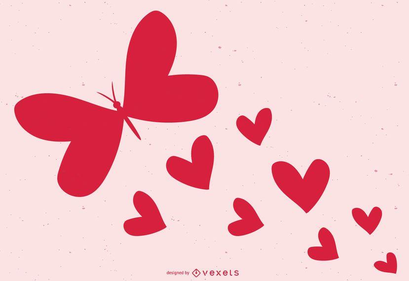 Tarjeta de San Valentín de corazones de mariposa preciosa