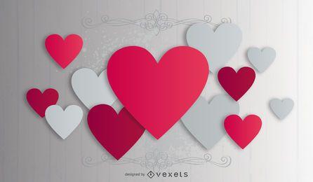 Fondo de San Valentín creativo corazones rosados y grises