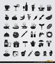 36 ícones lisos de comida e bebida