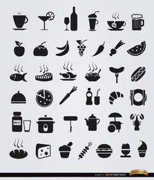 36 iconos planos de comida y bebida