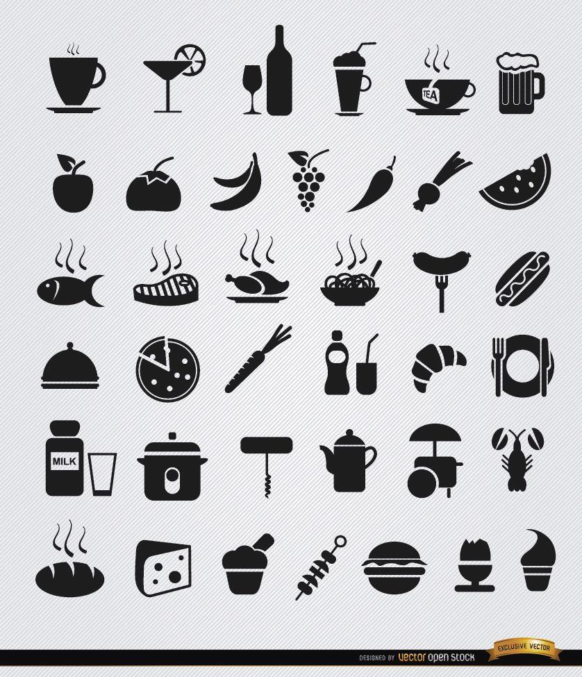 36 Flache Symbole für Essen und Trinken