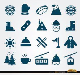 20 ícones de elementos de inverno