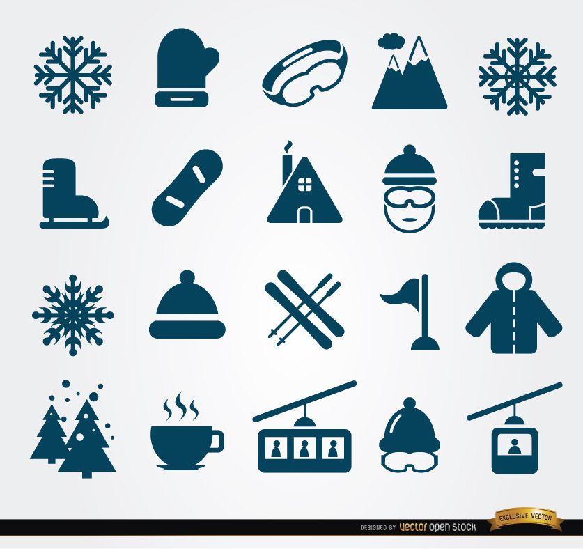 20 Symbole für Winterelemente