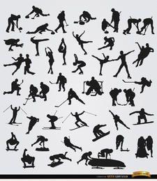 40 siluetas de deportes de invierno.