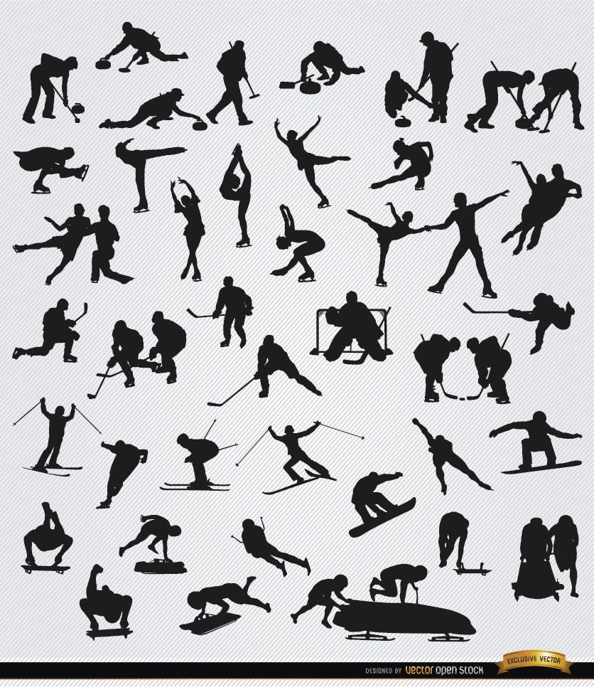 40 Winter sports silhouettes