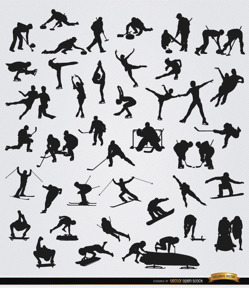 40 Wintersport-Silhouetten