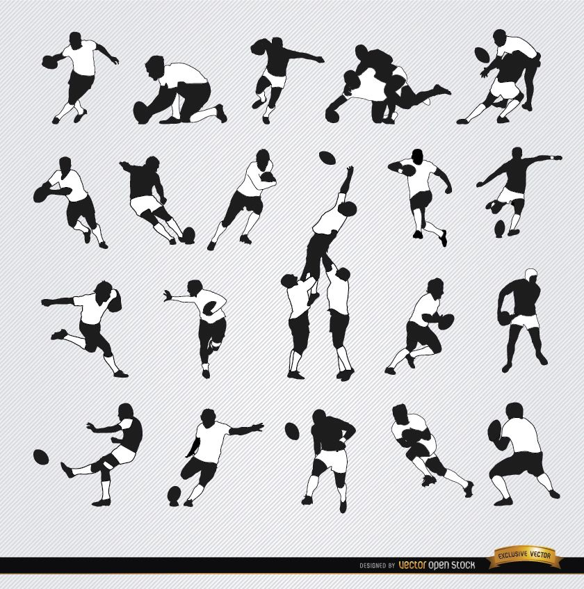 20 Rugby silhouettes set