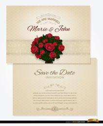 Convite de casamento de buquê e manga