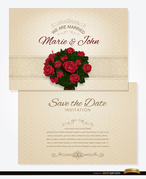 Bouquet wedding invitation and sleeve