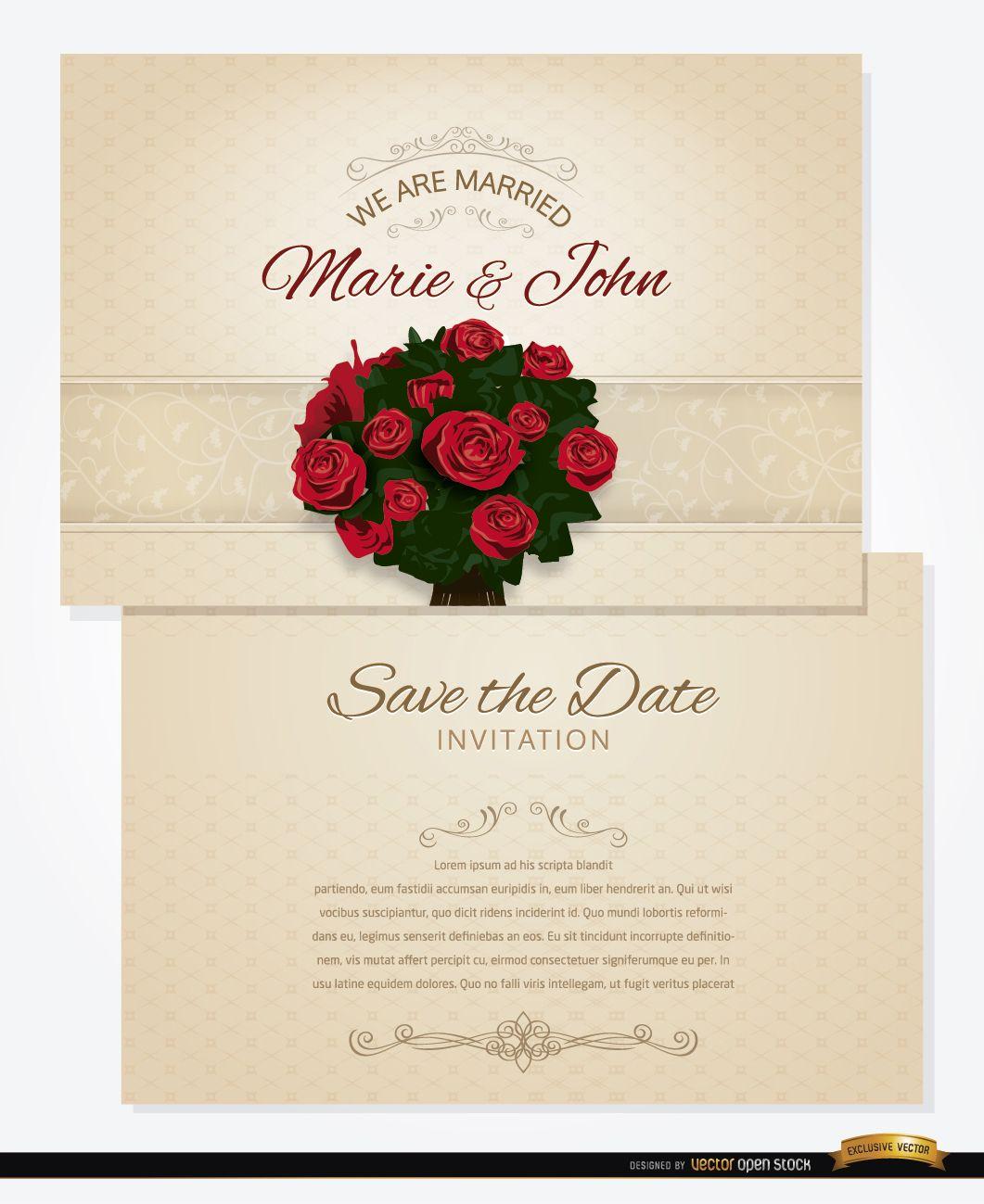 Bouquet wedding invitation and sleeve