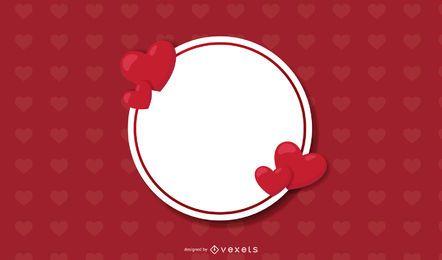 Banner de círculo no fundo do coração