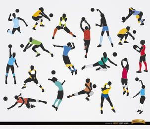 19 Silhouettes of Volleyball players