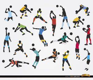 19 Siluetas de jugadores de voleibol
