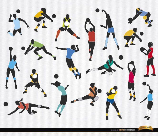19 silhuetas de jogadores de voleibol