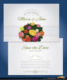 Manga de invitación de matrimonio flores ramo