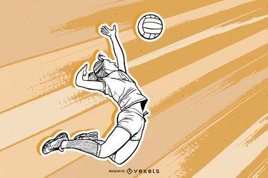 Esboço de retrato de menina de voleibol