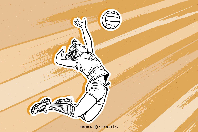 Boceto de retrato de niña de voleibol