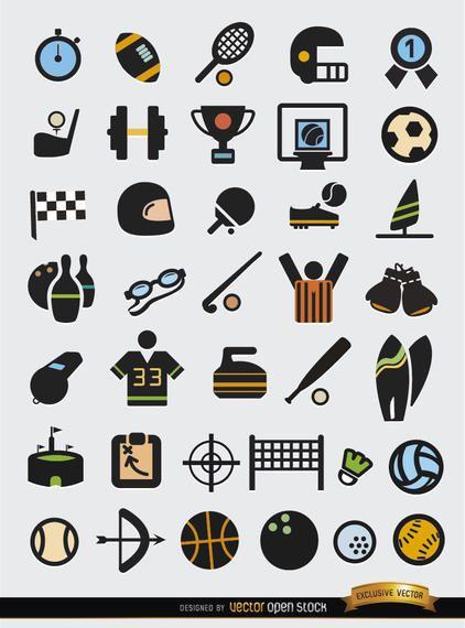 37 conjunto de ícones de elementos do esporte