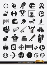 Paquete de 37 iconos deportivos planos