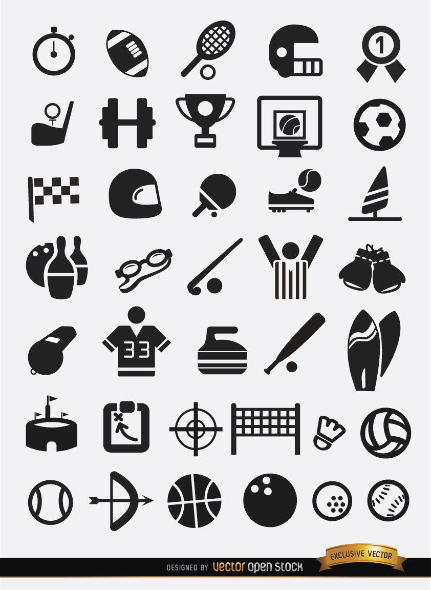 37 Flat sport icons pack - Vec...