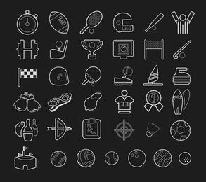 Conjunto de iconos de deporte de trazo