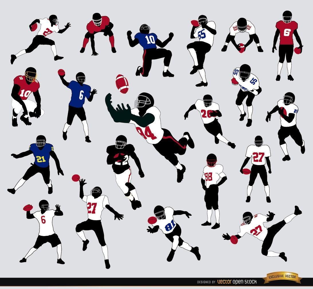 20 siluetas de jugadores de fútbol americano
