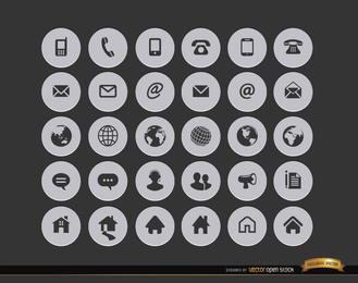 30 Internet contacto círculo iconos