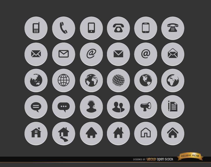 30 ícones de círculo de contato com a Internet