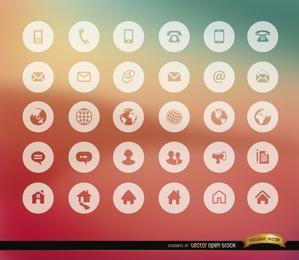 30 iconos de internet de comunicación
