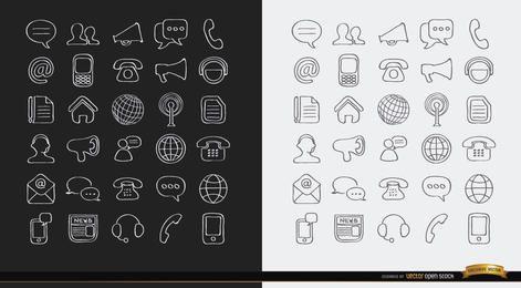 Iconos de internet de comunicaciones de trazo