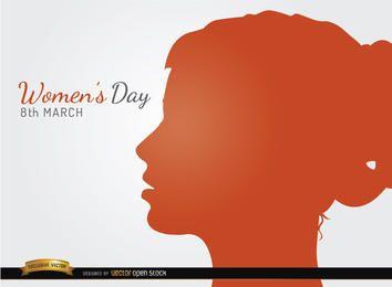Perfil de la cara de fondo al día de la Mujer