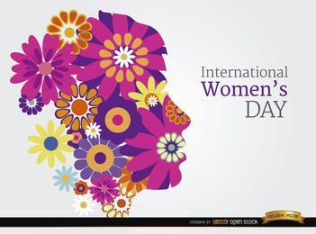 Día fondo flores cabeza de la Mujer