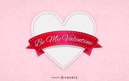 Cartão etiquetado do Valentim do coração da fita