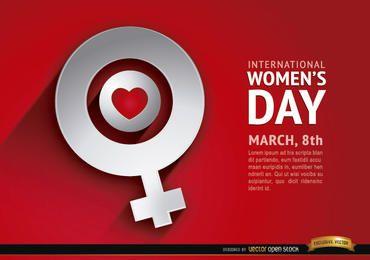 Fondo del símbolo femenino del amor del día de las mujeres